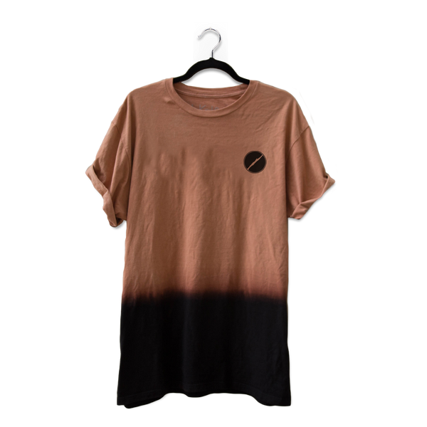 Chocolate Dip Dye Embroidered Logo Tee