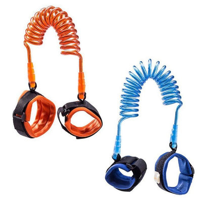 kids safety harness walking leash wrist band blue orange toddler