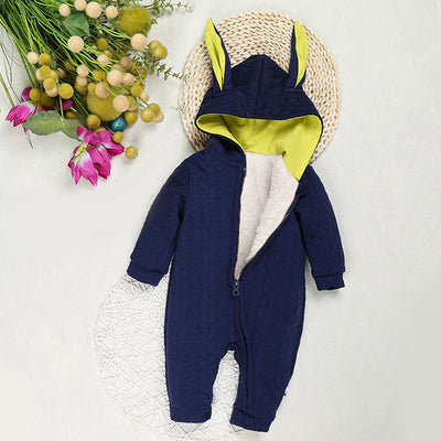 Snuggie Winter Suits for baby, infant and newborn cute boys and girls rompers baby long rabbit ears hooded jumpsuit newborn babies cotton outerwear onesie