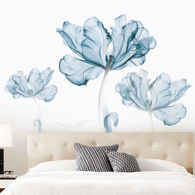 Blue Floral Wall Sticker Decal for baby room nursery living room family room house home