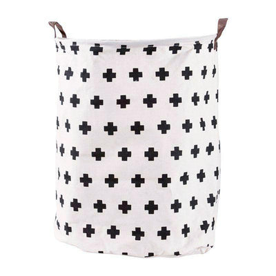 Canvas Storage Bags - Cross laundry basket with leather handles room decor for toys and clothes
