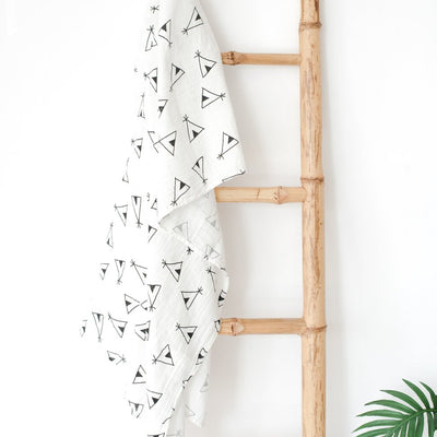 Bamboo Cotton Muslin Swaddle Blanket - Teepee Muslin Cotton Baby Swaddles For Newborn Baby Blankets Black & White Gauze Bath Towel