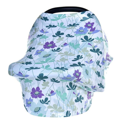 Multi-Use Nursing Cover - Purple Flowers for baby nursing mom capsule carseat cover highchair cover scarf pram stroller cover