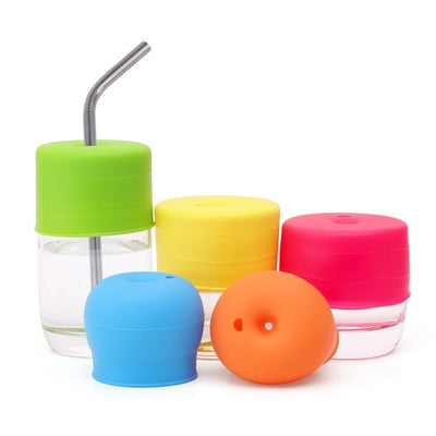 Baby sippy cup lid straw bottle feeding accessories silicone stretchable