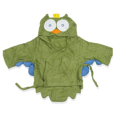 Hooded Green Owl Bathrobe baby infant toddler newborn bathing shower beach towel