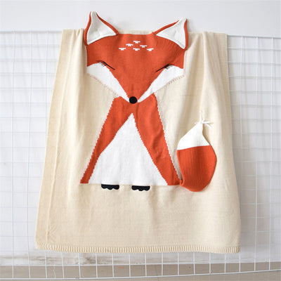 Knitted Fox Blanket for baby, toddlers, and kids Acrylic 3D fox blanket, towel or throw