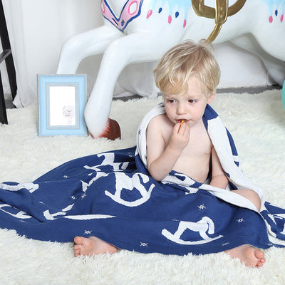 Reversible Knitted Blanket - Rocking Horse for baby, toddler and kids for nursery and bedroom. Nordic style decor throw
