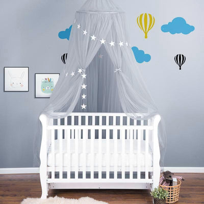 Sheer Canopy - Grey for baby nursery, kids bedroom and playroom. Princess nordic style