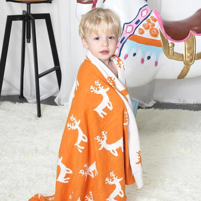 Reversible Knitted Blanket - Stag for baby, toddler and kids for nursery and bedroom. Nordic style decor throw