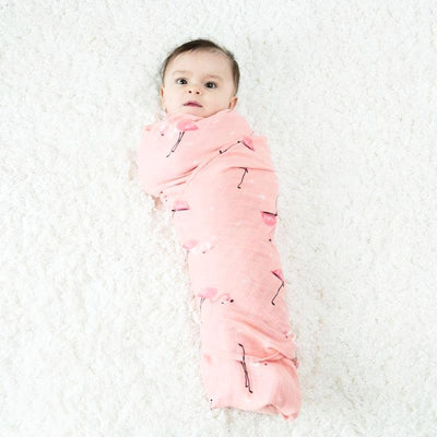 Cotton Bamboo Muslin Swaddle Blanket - Pink Flamingos Baby Blanket Muslin Swaddle Wraps 30% Cotton 70% Bamboo Baby Blankets Newborn Bamboo Muslin Blankets