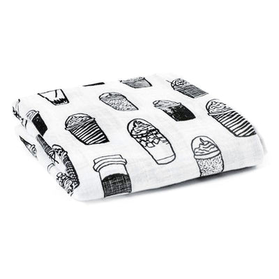 Muslin Swaddle Blanket - Coffee Muslin Cotton Baby Swaddles For Newborn Baby Blankets Black & White Gauze Bath Towel
