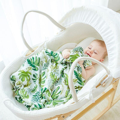 Muslin Swaddle Blanket - Green Leaves Baby Blanket Muslin Swaddle Wraps Cotton Bamboo Baby Blankets Newborn Infant Bamboo Muslin Blankets 120x120cm Character Kid