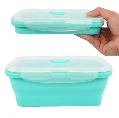 Silicone Collapsible Lunch Box - 800ml for toddlers, kids and adult. Good for school, kindergarten, park and out and about