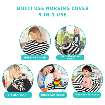 Multi-Use Nursing Cover - Leaves for baby nursing mom capsule carseat cover highchair cover scarf pram stroller cover