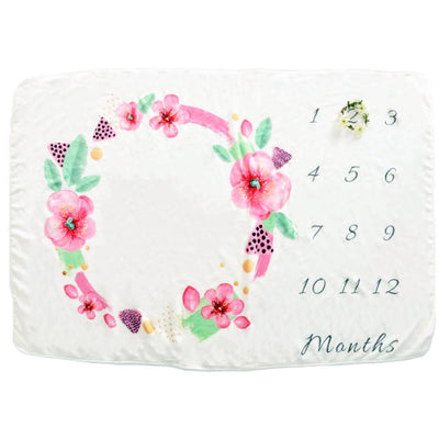 Baby Milestone Blanket - Pink Floral Wreath for baby infant baby shower gift soft blanket photography baby photo prop fleece plush blanket