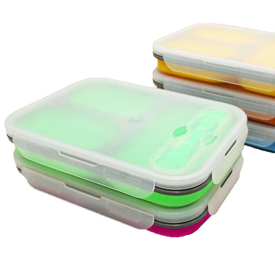 Silicone Collapsible Lunch Box - 1100ml for toddlers, kids and adult. Good for school, kindergarten, park and out and about