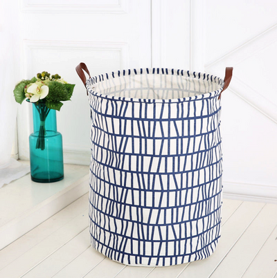 Canvas Storage Bags - Blue Stripe laundry basket with leather handles room decor for toys and clothes
