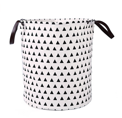 Canvas Storage Bags - Little Triangles laundry basket with leather handles room decor for toys and clothes