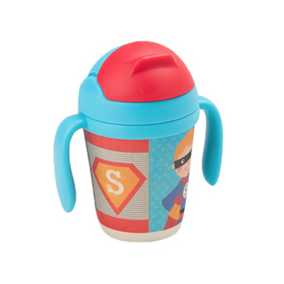 Bamboo Fiber Cup - Superboy straw cup BPA free Portable water Bottle 300ml  for baby, toddlers and kids. outdoor travel picnic or at home