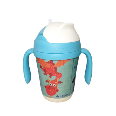 Bamboo Fiber Cup - Dragoon the Dragon straw cup BPA free Portable water Bottle 300ml  for baby, toddlers and kids. outdoor travel picnic or at home