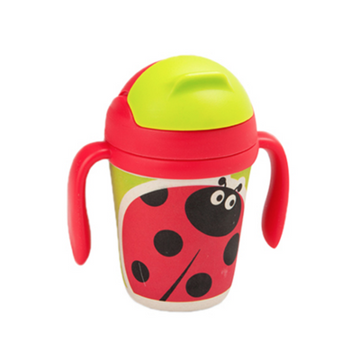 Bamboo Fiber Cup - Dorthy the ladybug straw cup BPA free Portable water Bottle 300ml  for baby, toddlers and kids. outdoor travel picnic or at home