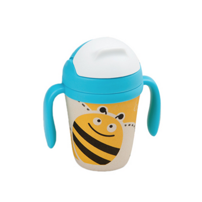 Bamboo Fiber Cup - Buzzy Bee straw cup BPA free Portable water Bottle 300ml  for baby, toddlers and kids. outdoor travel picnic or at home