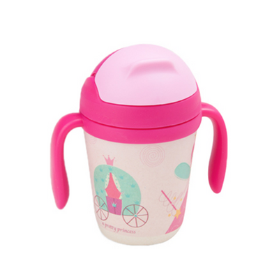 Bamboo Fiber Cup - Fairy Princess straw cup BPA free Portable water Bottle 300ml  for baby, toddlers and kids. outdoor travel picnic or at home