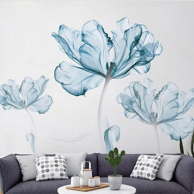 Blue Floral Wall Sticker Decal