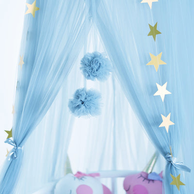 Sheer Canopy - sky blue for baby nursery, kids bedroom and playroom. Princess nordic style