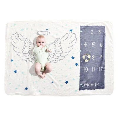 Baby Milestone Blanket - Wings for baby infant baby shower gift soft blanket photography baby photo prop fleece plush blanket