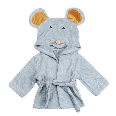 Hooded Mouse Bathrobe  baby newborn toddler towel grey bathing shower beach towel