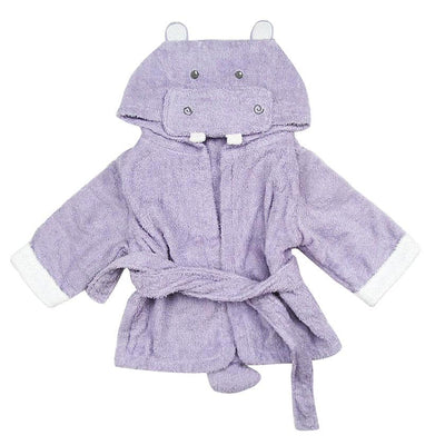 Purple hooded hippo bathrobe baby infant toddler newborn bathing beach towel