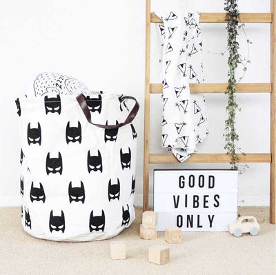 Canvas Storage Bags - Superhero laundry basket with leather handles room decor for toys and clothes