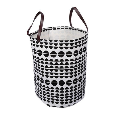 Canvas Storage Bags - Geometric laundry basket with leather handles room decor for toys and clothes