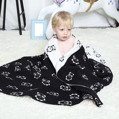 Reversible Knitted Blanket - Panda for baby, toddler and kids for nursery and bedroom. Nordic style decor throw