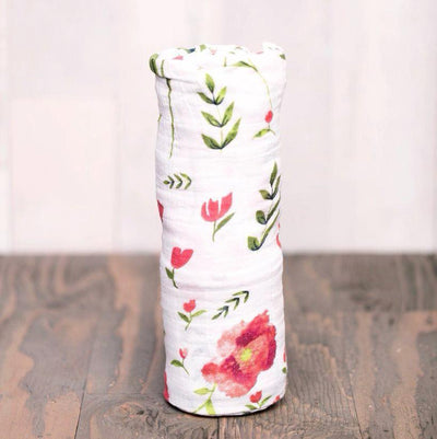 Cotton Bamboo Muslin Swaddle Blanket - Summer Poppy