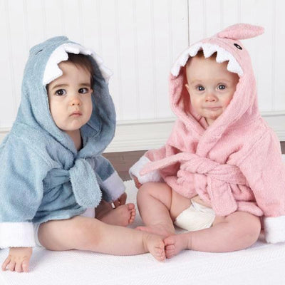 Hooded Pink Shark Bathrobe baby newborn toddler towel pink blue bathing shower beach towel