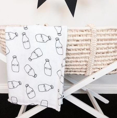 Muslin Swaddle Blanket - Milk Bottles Muslin Cotton Baby Swaddles For Newborn Baby Blankets Black & White Gauze Bath Towel