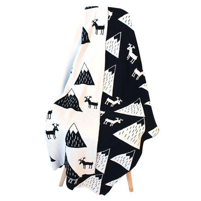 Reversible Knitted Blanket - Mountain Stag for baby, toddler and kids for nursery and bedroom. Nordic style decor throw