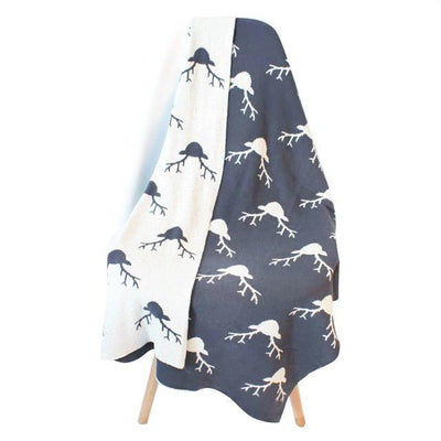 Reversible Knitted Blanket - Deer for baby, toddler and kids for nursery and bedroom. Nordic style decor throw
