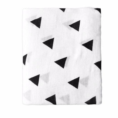 Cotton Bamboo Muslin Swaddle Blanket - Triangles Muslin Cotton Baby Swaddles For Newborn Baby Blankets Black & White Gauze Bath Towel