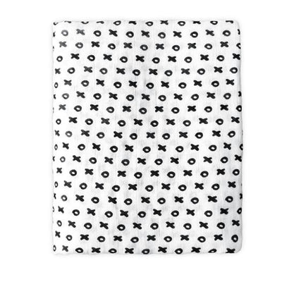 Cotton Bamboo Muslin Swaddle Blanket - XO Muslin Cotton Baby Swaddles For Newborn Baby Blankets Black & White Gauze Bath Towel
