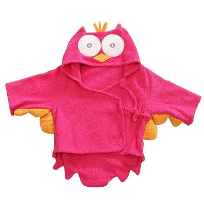 Hooded Pink Owl Bathrobe baby infant toddler newborn bathing shower beach towel