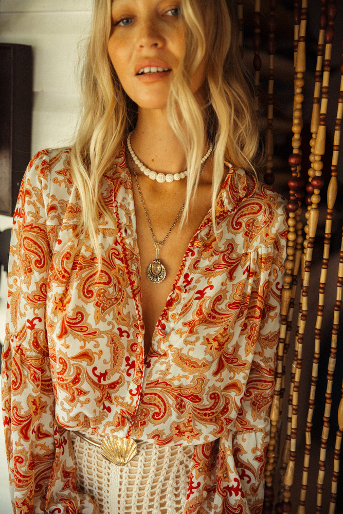 Break On Through silk crepe blouse - ochre paisley