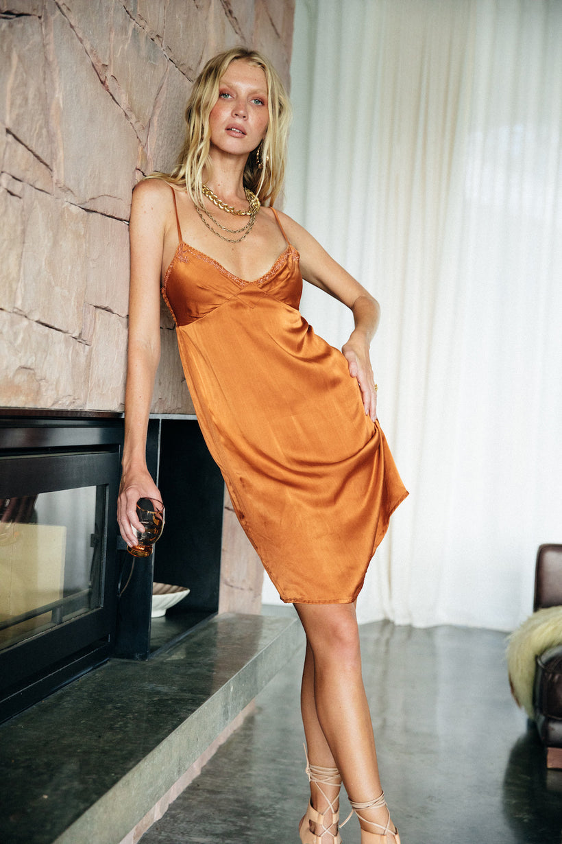 Always On My Mind silk slip dress - copper