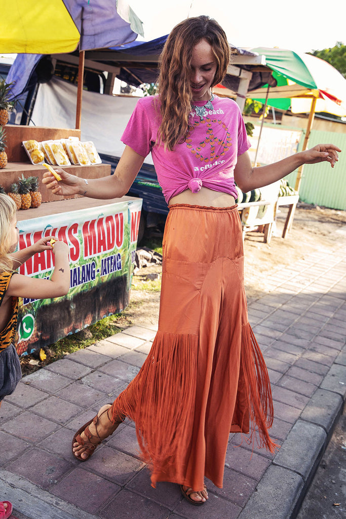 Another Star silk fringe Skirt
