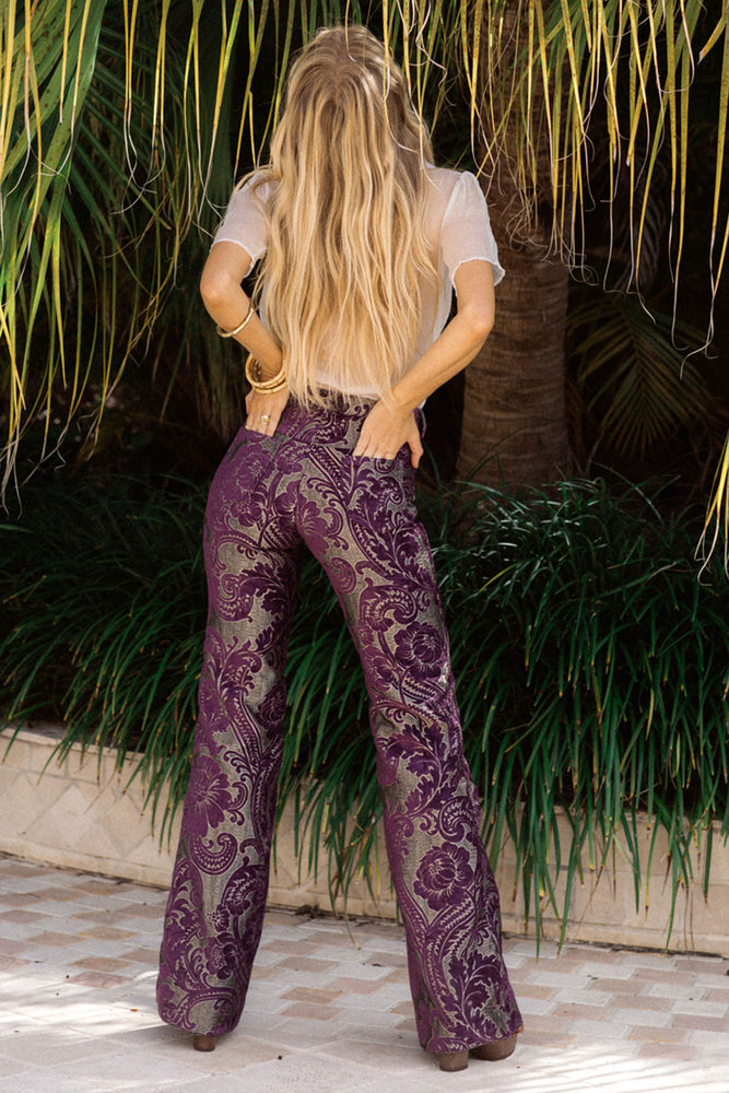Band On The Run tapestry flares - purple