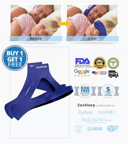 [ON SALE TODAY BUY 1 GET 1 FREE TO SAVE $79!] Includes 2 ZenStraps -- Stop Snoring in 24 Hrs and Get the Beauty-Sleep You Deserve Guaranteed!