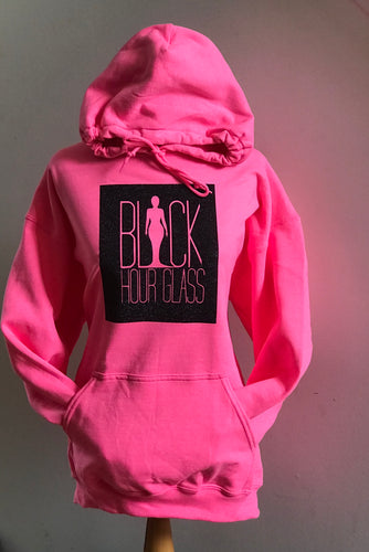 Neon Pink Hoodie with Inverted Silhouette Logo