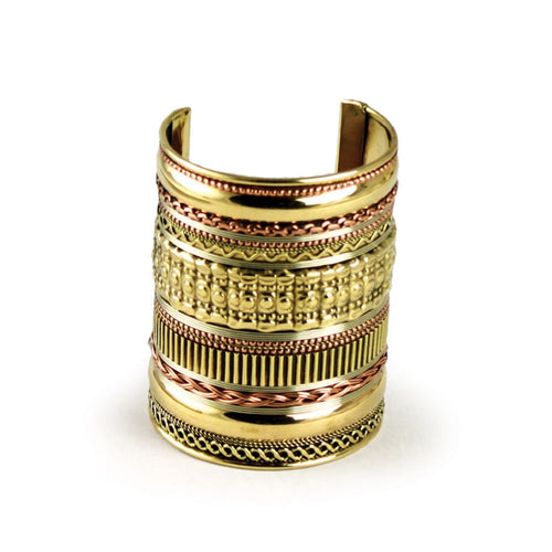 Long Brass & Copper Wrist Cuff